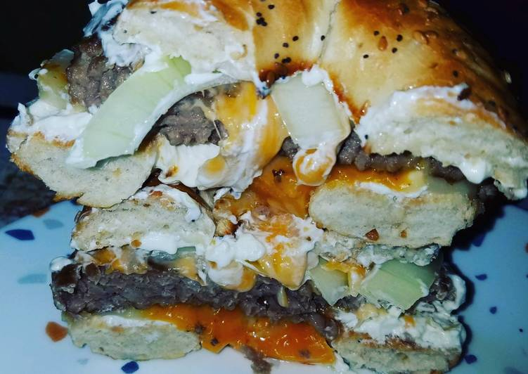 How to Elevate Your Mood with Food Everything Bagel Fried Onion Cream cheese Cheddar Cheese Burger