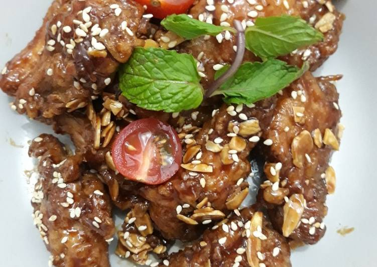 Oriental Sticky Wings with Almond & Sesame