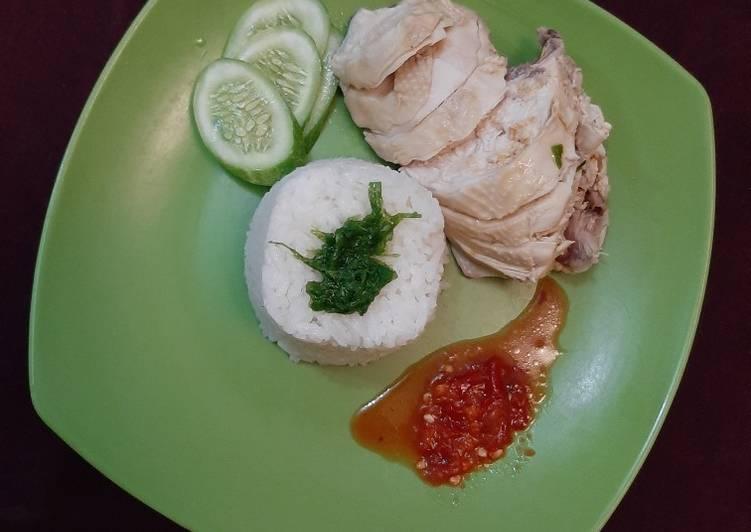 Nasi Hainan dan Ayam rebus sederhana