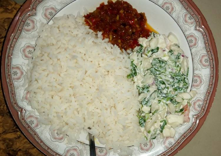 How to Prepare White rice and stew with Salad in 24 Minutes for Beginners