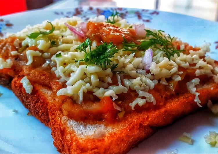 Recipe of Ultimate Cheesy pav bhaji toast