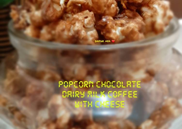 Popcorn chocolate dairy milk coffee with cheese