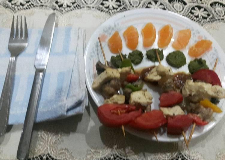 Steps to Prepare Favorite Grilled Paneer mushrooms on Satay sticks