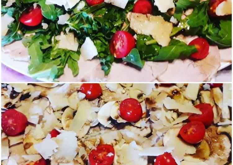 Arista condita a freddo con rucola, pomodorini, funghi, grana