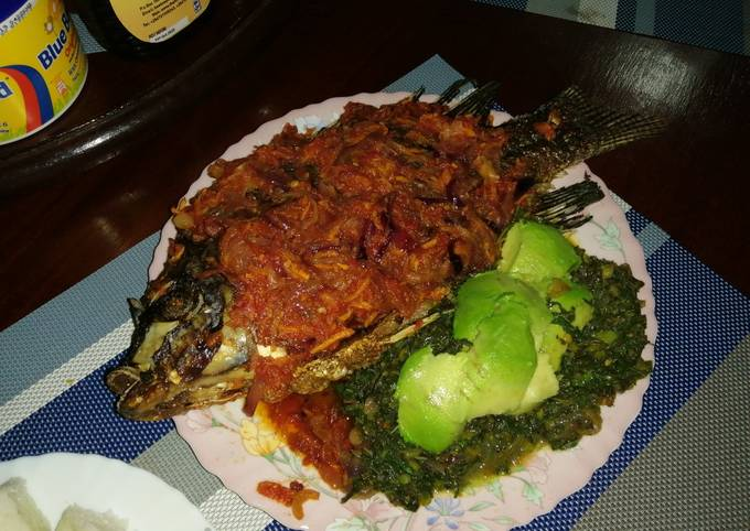 Juicy wet fry fish with ugali