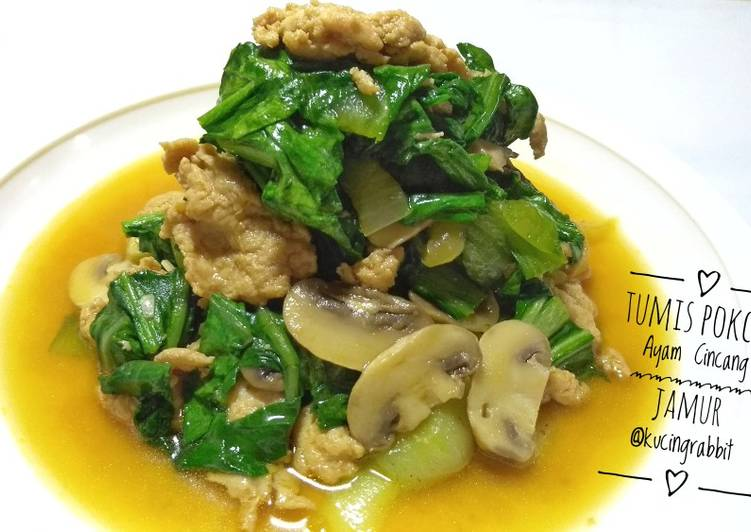 Tumis Pokcoy Ayam Cincang Jamur