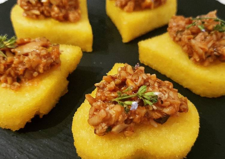 Easiest Way to Prepare Perfect Hearts of fried polenta and pioppini mushroom ragout