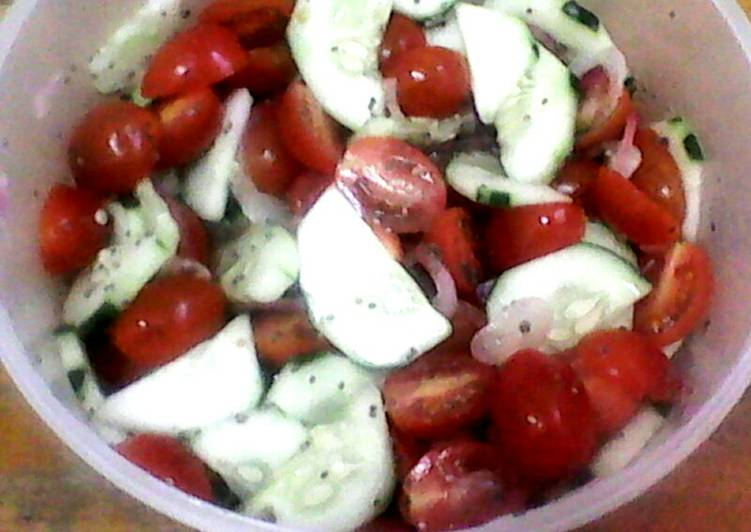 Cucumber Tomato Salad with Lemon Chia Seed Dressing