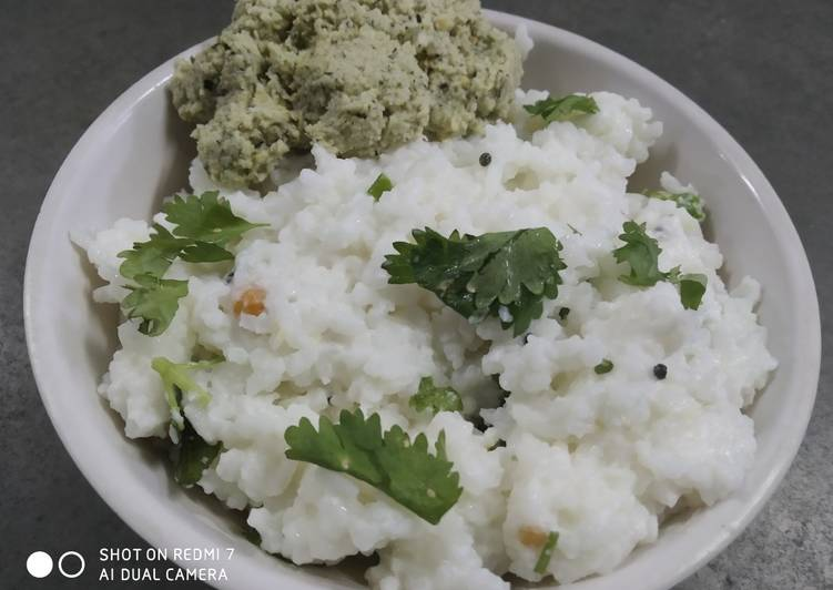 Curd Rice with coconut dry chutney
