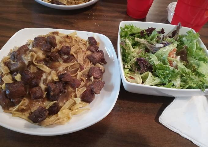 Beef and Noodles with Spring Salad