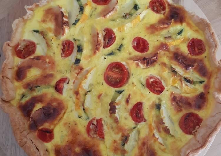 Quiche aux courgettes vertes & jaunes/fromage de chèvre