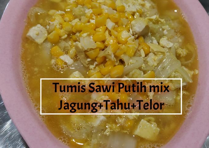 Resep Tumis Sawi Putih mix Jagung Tahu Telor, Enak