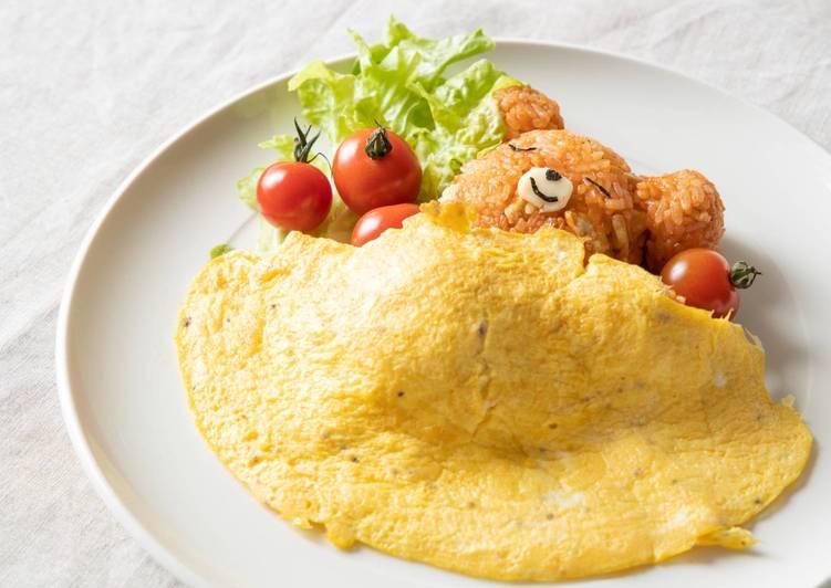 Kawaii ♥ Sleeping Bear Omurice (Omelette dengan Nasi Goreng Jepun)