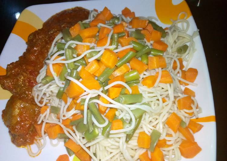 Vegetable spaghetti and stew 1