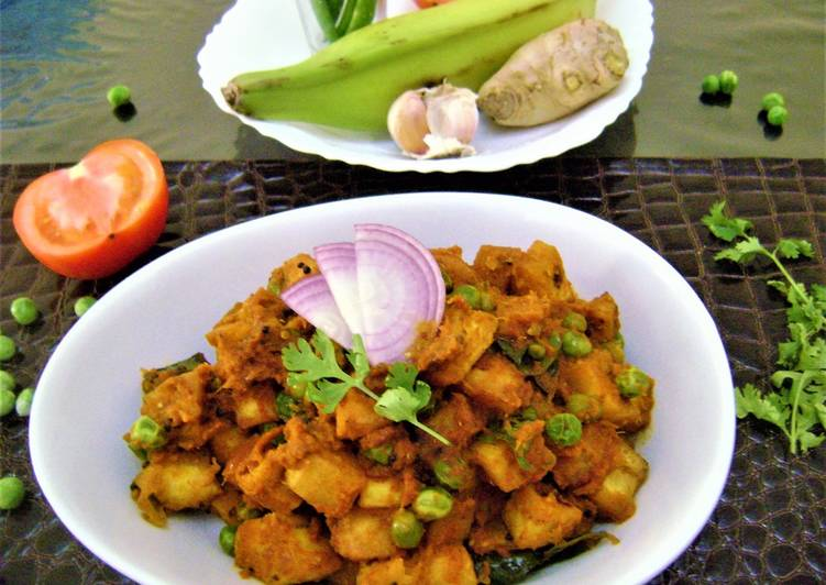 Cooking Tips Raw Banana Curry with Green Peas