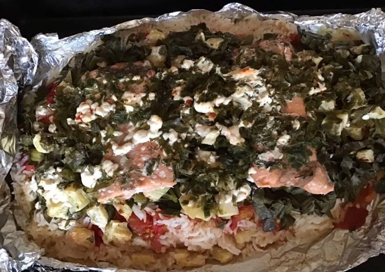 Pavés de saumon aux légumes du soleil et riz en papillote géante