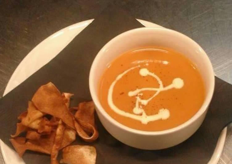 Recipe of Award-winning Cream of tomato soup with parsnip crisps