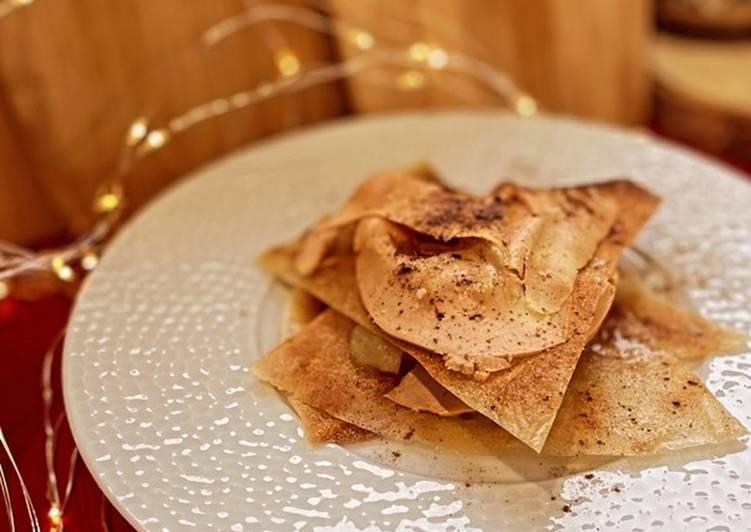 Recette Savoureux Milles feuilles croustillant au foie gras & poires chaudes