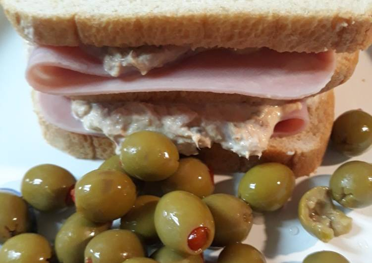 Easiest Way to Make Super Quick Homemade Tunafish-Ham Sandwich