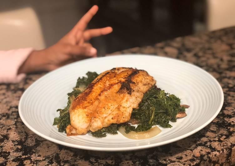Blackened Catfish and Sautéed Kale