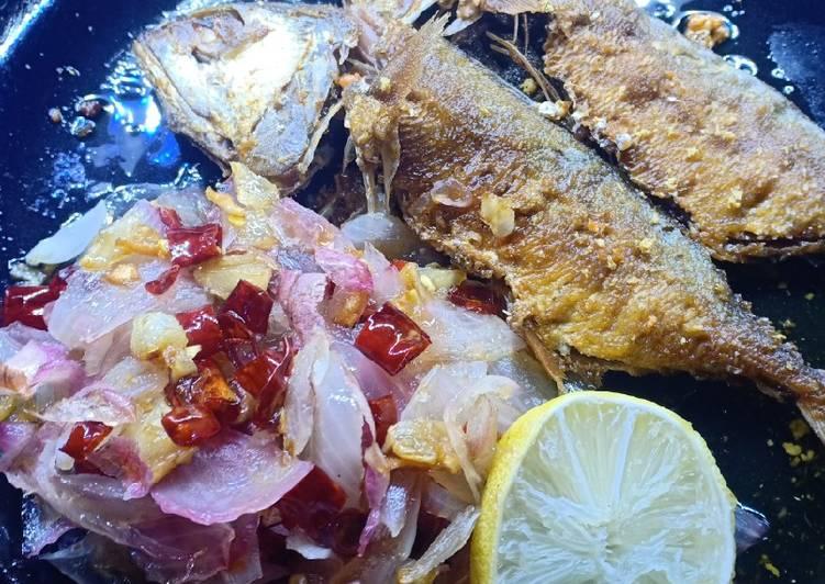 Ikan asin peda sambal bawang lemon