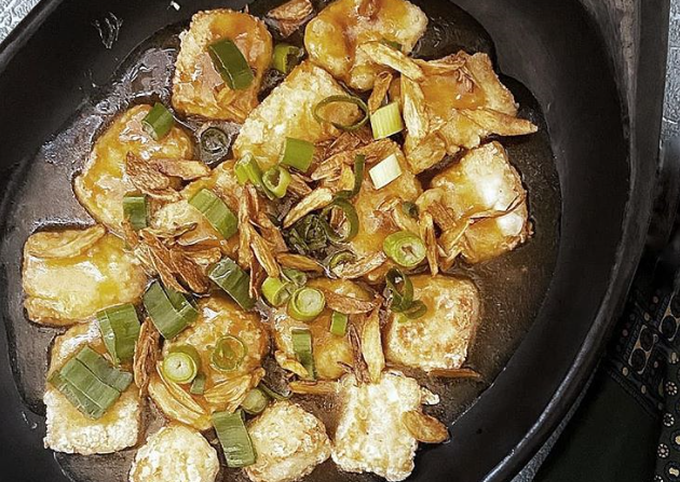 Japanese Tofu In Oyster Sauce And Crispy Garlic Recipe By Malaysian Kitchen Uk Cookpad
