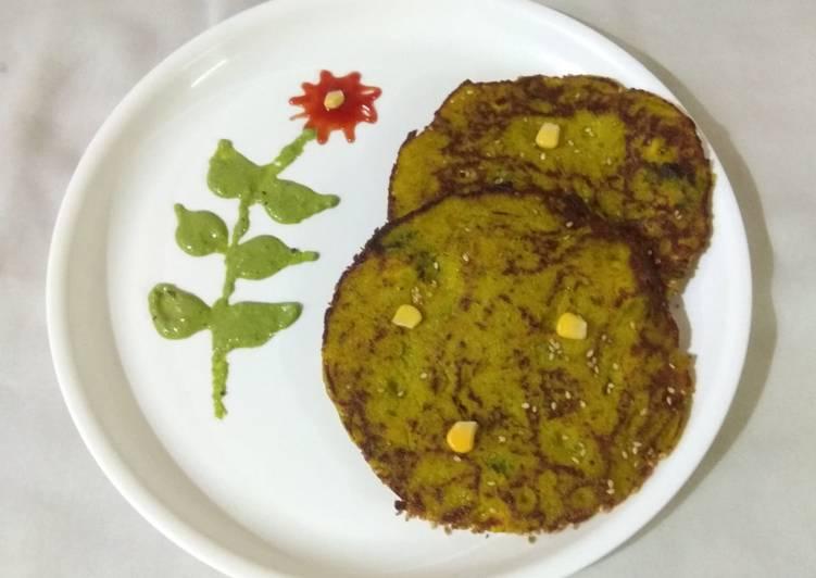 15 Minute Recipe of Fall Corn spinach pan handvo