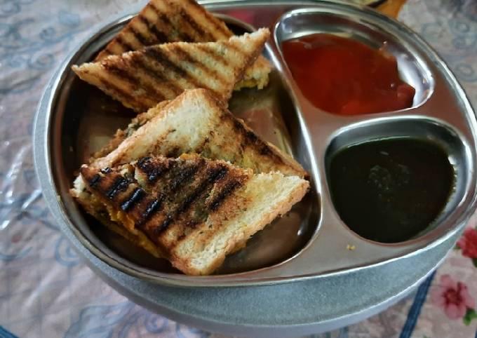 Potato bhaji stuff white bread grilled sandwich for breakfast