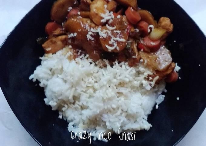 Crazy rice (nasi gila ala saya) 🍚🍗🥖