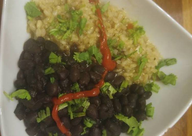 No-Soak Black Beans w/Lime-Cilantro Brown Rice - Laurie G Edwards