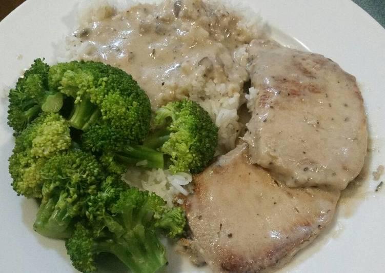 70+ Dinner Easy Summer Pork Chops, Broccolli, Rice, and Mushroom Gravy