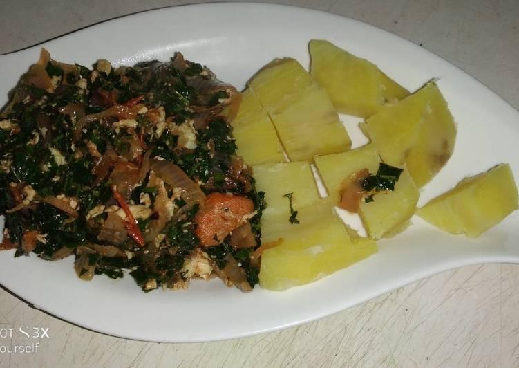 Sweet potato & Ugu egg sauce