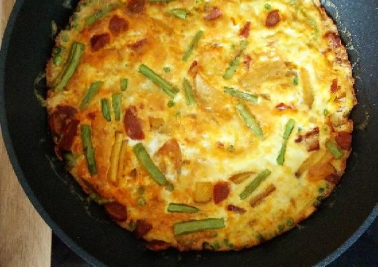 Chorizo and vegetable Fritatta