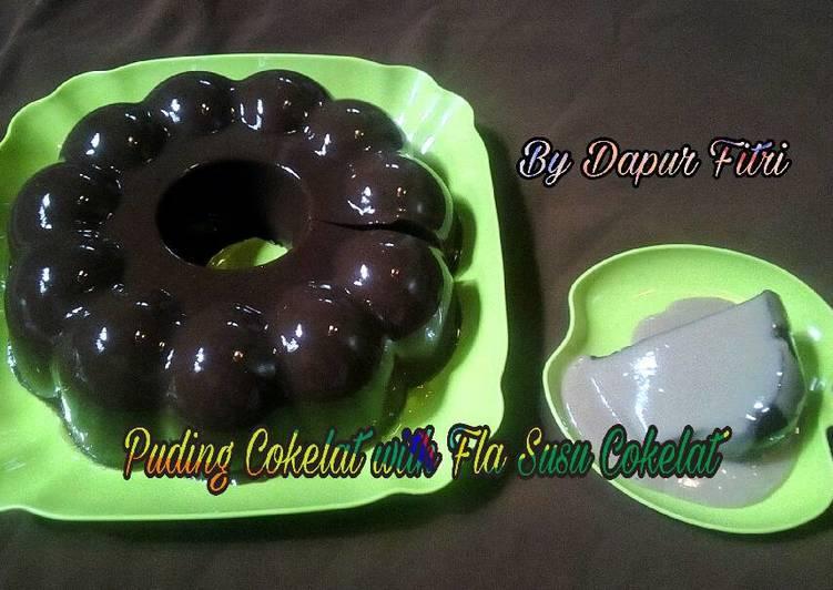 Puding Cokelat with Fla Susu Cokelat