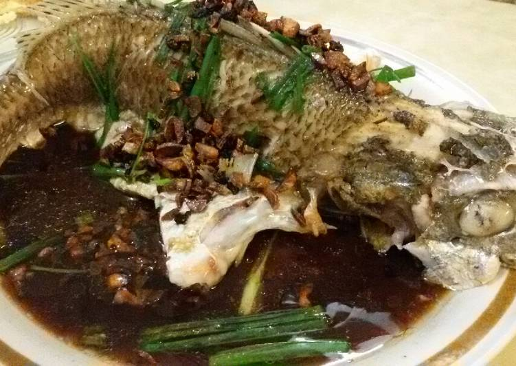 Steam Fish in Supreme Soy Sauce topped with Salted Black Daze