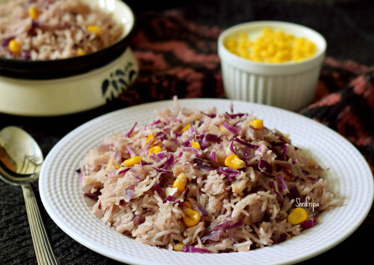 Red cabbage and Sweet corn Pulav: One pot meal