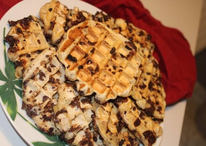 Gaufres liégeoises traditionnelles aux pépites de chocolat