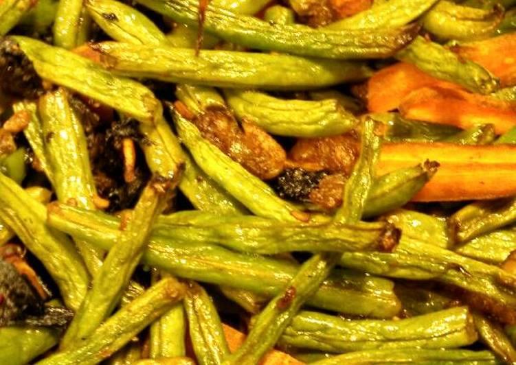 Easiest Way to Make Speedy Dry Roasted string beans in tamari sauce 烤四季豆