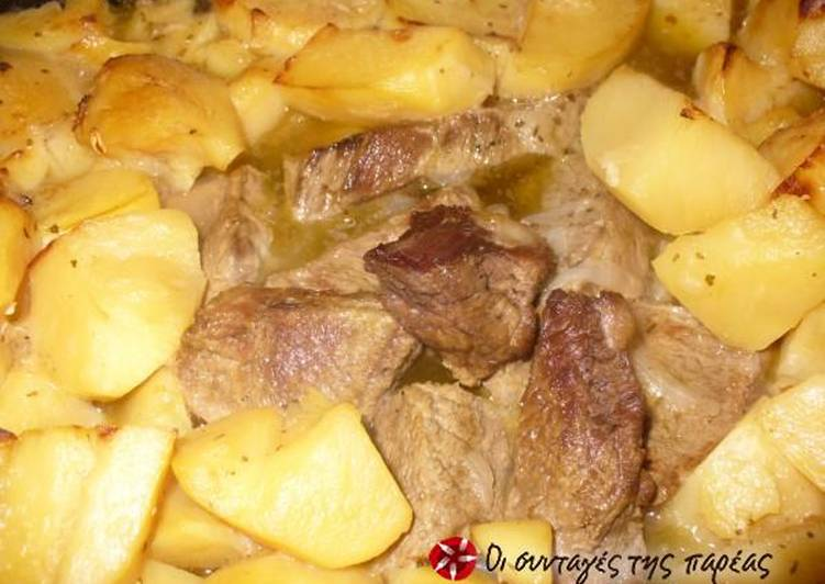 Beef with potatoes in the oven