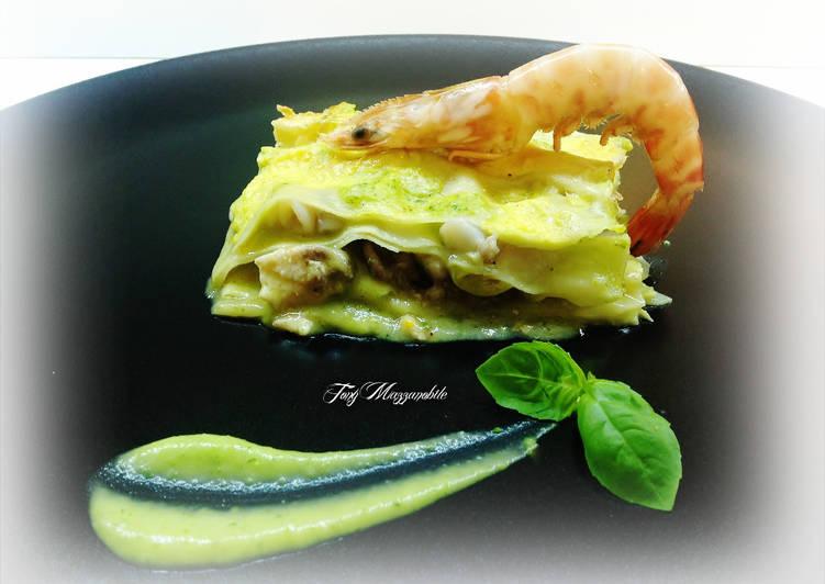 How to Prepare Yummy Lasagne al forno con ragù di pesce e crema di zucchine e basilico
