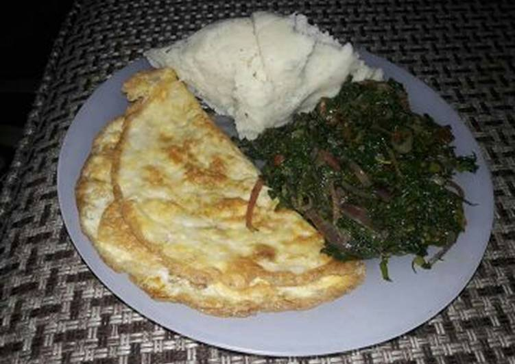 Step-by-Step Guide to Make Ultimate Omelette, sauted kales with Ugali