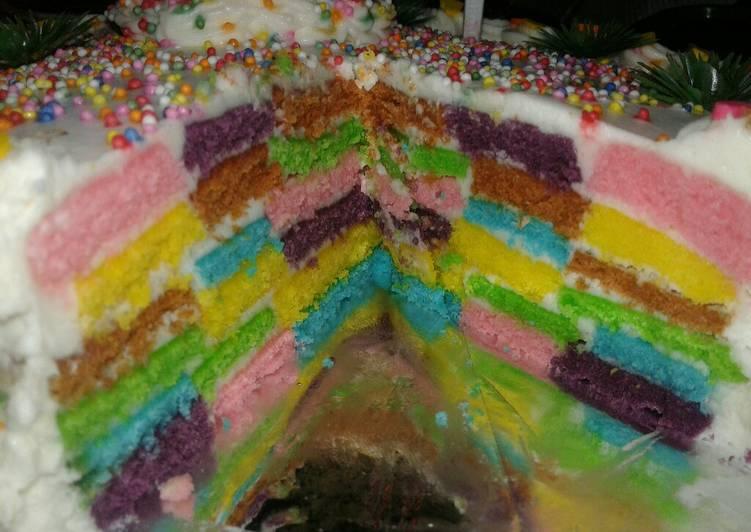 Rainbow Checkerboard Cake *versi oven