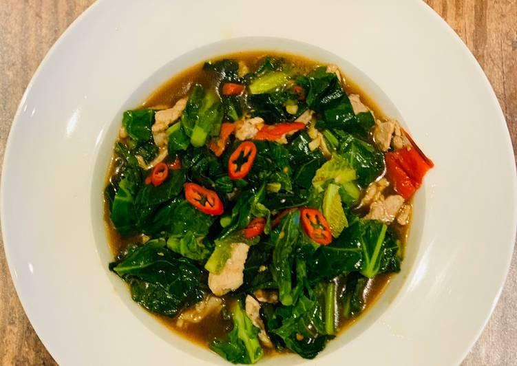 Spring green and pork stir-fry