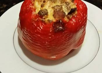 Easiest Way to Prepare Tasty Brads roasted red pepper stuffed with chicken apple sausage