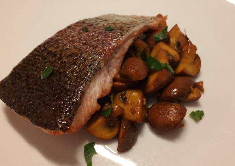 Simple Way to Make Super Quick Homemade Oven roasted rainbow trout with saffron mushrooms