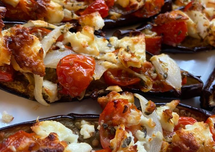 Step-by-Step Guide to Make Ultimate Baby Aubergines with baby plum tomatoes, onion and feta