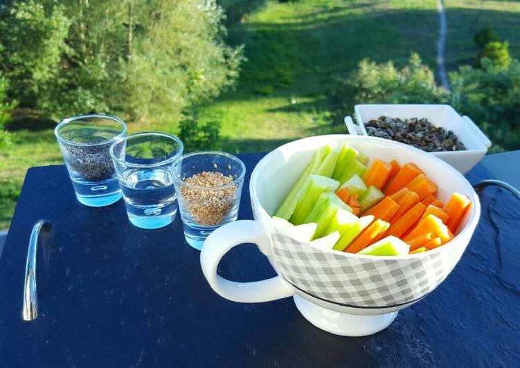 Dips de légumes pavot- sésame et graines de courge grillées