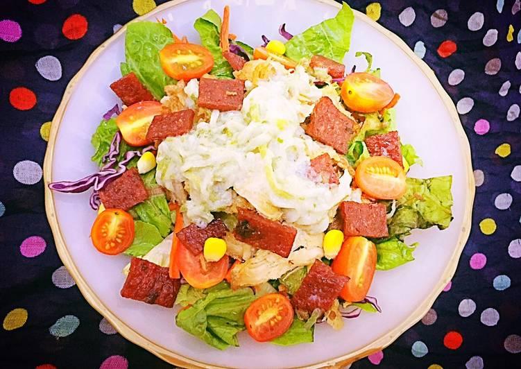 Salad Ayam & Dendeng Sapi dengan Saus Tzatziki