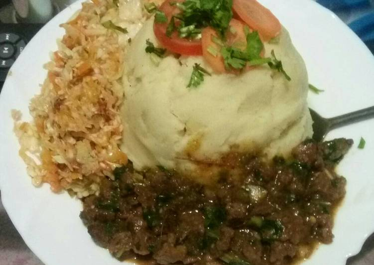 Steps to Prepare Perfect Mashed potatoes with beef fry