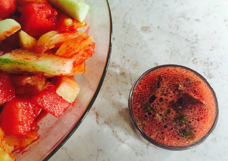 Beet Vinaigrette drizzled over a Pineapple, Watermelon and Cucumber Salad